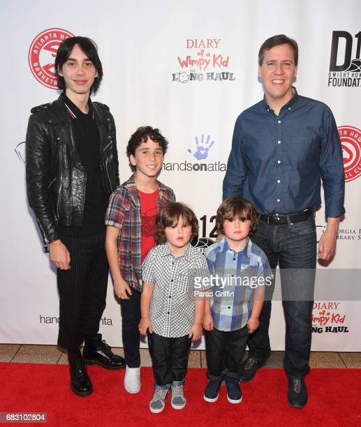 """Charlie Wright, Jason Drucker, Dylan Walters, Wyatt Walters, and Jeff Kinney attend """"Diary Of A Wimpy Kid: The Long Haul"""" Atlanta screening hosted by..."""