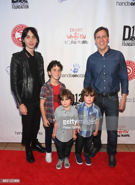 Charlie Wright Jason Drucker Dylan Walters Wyatt Walters and Jeff Kinney attend Diary Of A Wimpy Kid The Long Haul Atlanta screening hosted by Dwight...