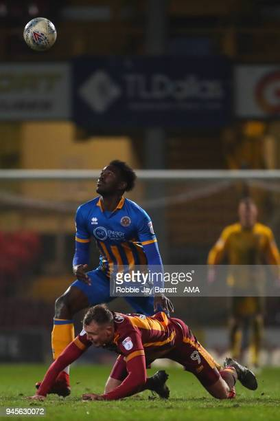 Charlie Wyke of Bradford City and Aristote Nsiala of Shrewsbury Town during the Sky Bet League One match between Bradford City and Shrewsbury Town at...
