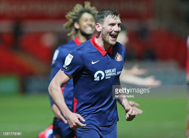 Charlie Wyke of Sunderland celebrates scoring the second goal during the Sky Bet League One match between Accrington Stanley and Sunderland at The...