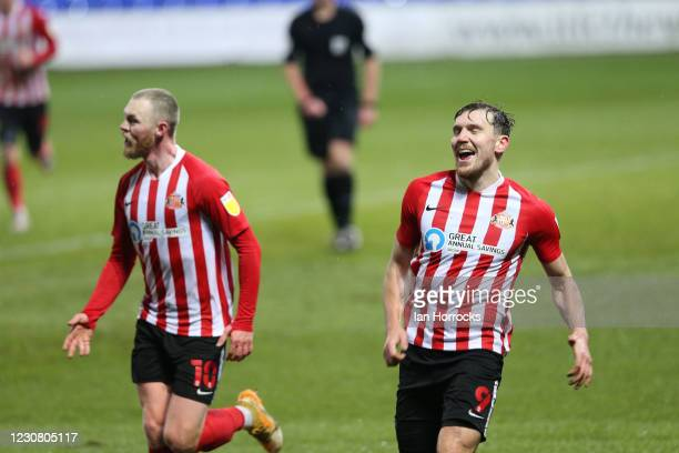 Charlie Wyke of Sunderland celebrates with team-mates after scores the opening goal during the Sky Bet League One match between Ipswich Town and...