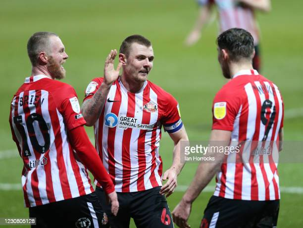 Charlie Wyke of Sunderland celebrates with team-mates after scoring the opening goal during the Sky Bet League One match between Ipswich Town and...