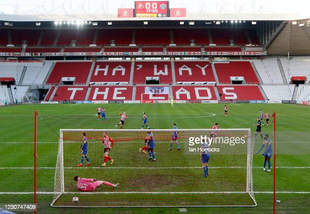 Charlie Wyke of Sunderland heads in the opening goal during the Sky Bet League One match between Sunderland and Shrewsbury Town at Stadium of Light...