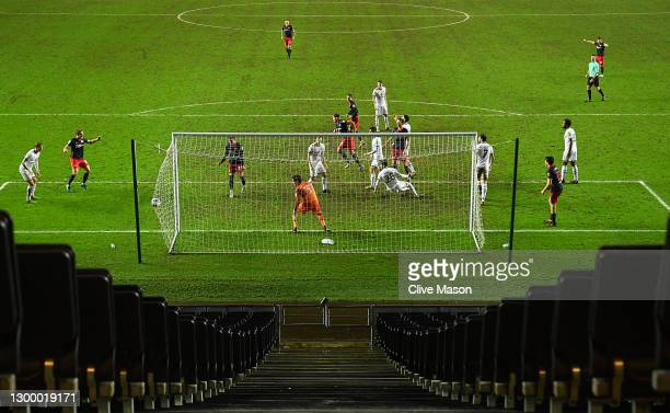 Charlie Wyke of Sunderland scores his teams third goal during the Papa Johns Trophy match between Milton Keynes Dons and Sunderland on February 02,...