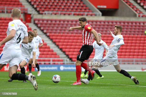 Charlie Wyke of Sunderland scores to make it 11 during the Sky Bet League 1 match between Sunderland and Portsmouth at the Stadium Of Light...
