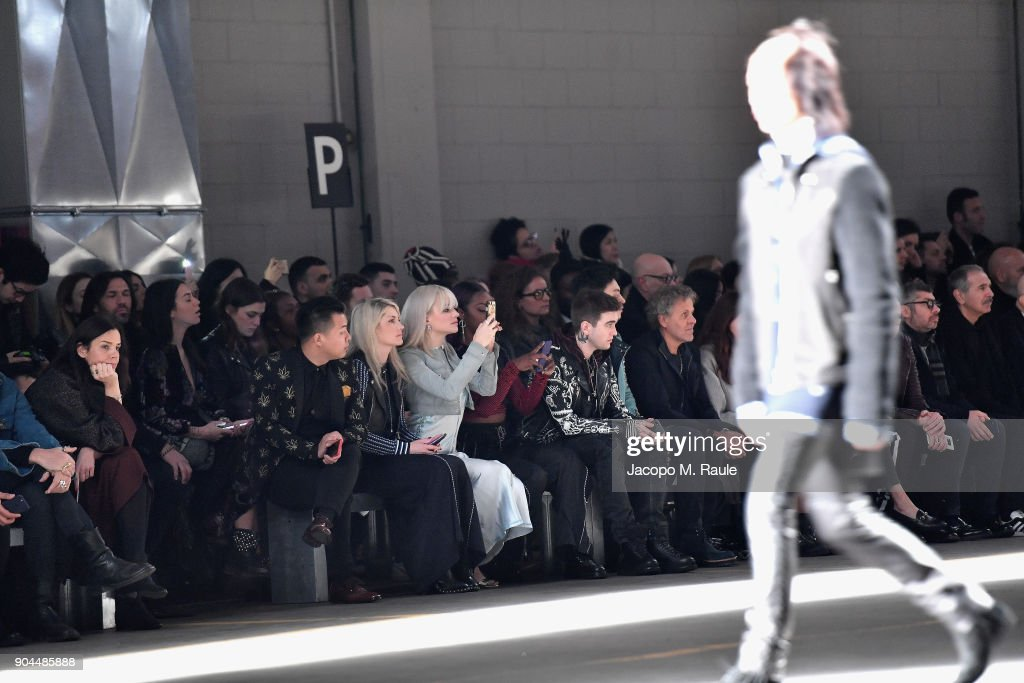 Charlie-Ann Lott, Pixie Lott, Justine Skye, Gabriel-Kane Day-Lewis and Renzo Rosso attend the Diesel Black Gold show during Milan Men's Fashion Week Fall/Winter 2018/19 on January 13, 2018 in Milan, Italy.