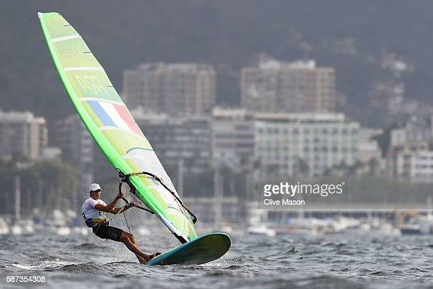 Charline Picon of France competes during the Women's RSX Race 2 on Day 3 of the Rio 2016 Olympic Games at Marina da Gloria on August 9 2016 in Rio de...