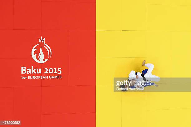 Charline van Snick of Belgium and Ebru Sahin of Turkey compete in the Women's Judo 48kg Final during day thirteen of the Baku 2015 European Games at...