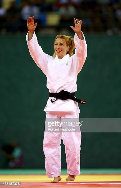 Charline van Snick of Belgium celebrates victory over Ebru Sahin of Turkey in the Women's Judo 48kg Final during day thirteen of the Baku 2015...