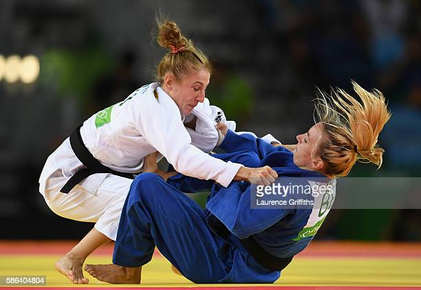 Charline Van Snick of Belgium competes against Monica Ungureanu of Romania during the Women's -48 kg Judo on Day 1 of the Rio 2016 Olympic Games at...