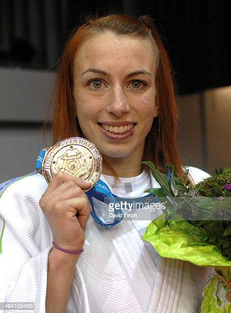Charline Van Snick of Belgium poses with her u48kg gold medal during the Dusseldorf Grand Prix on Friday, February 20 2015 at the Mitsubishi Electric...