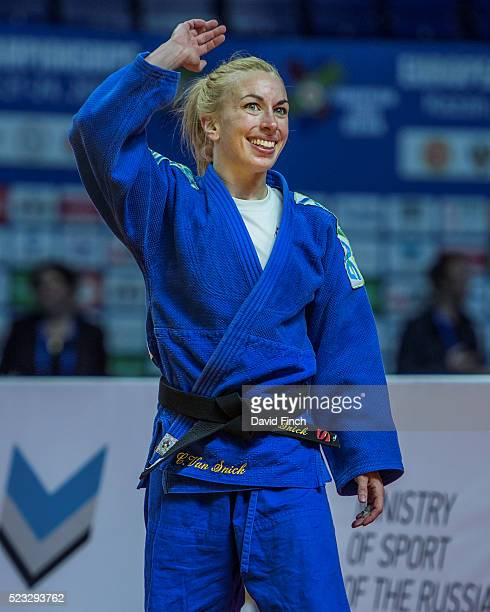 Charline Van Snick of Belgium shows her delight at winning her second European gold medal at u48kg during the 2016 Kazan European Judo Championships...