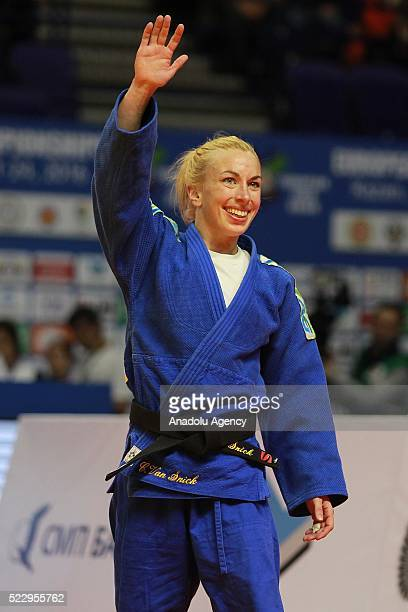 April 21: Charline Van Snick of the Belgium celebrates her victory against Eva Csernoviczki of Hungary in their final bout of the women's -48 kg...