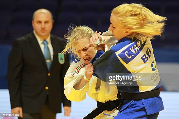 April 21: Charline Van Snick of the Belgium in action against Eva Csernoviczki of Hungary in their final bout of the women's -48 kg category at the...