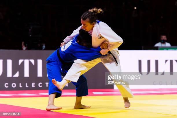 Charline van Snick of the Belgium Judo Federation, Nursulu Yeraliyeva of the Kazakhstan Judo Federation during the World Judo Championships Hungary...