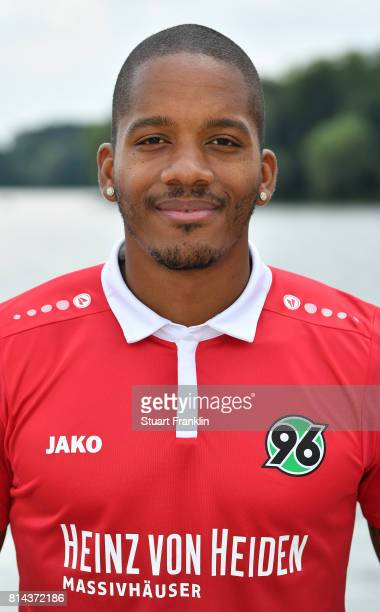 Charlison Bebschop of Hannover 96 poses during the team presentation at on July 14 2017 in Hanover Germany