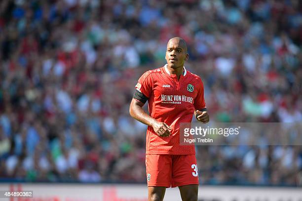 Charlison Benschop of Hannover reacts during the Bundesliga match between Hannover 96 and Bayer 04 Leverkusen at HDIArena on August 22 2015 in...
