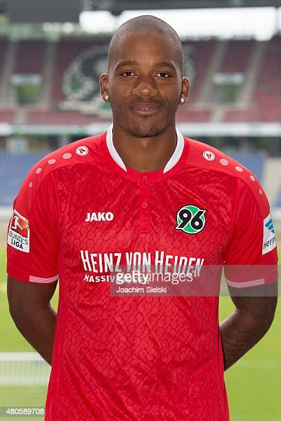 Charlison Benschop poses during a team presentation for Hannover 96 at HDIArena on July 13 2015 in Hanover Germany