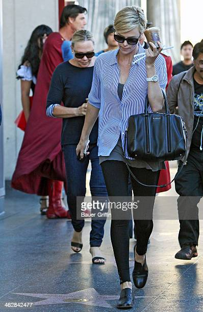 Charliz Theron is seen in Hollywood with her mother Gerda Maritz on January 15 2014 in Los Angeles California