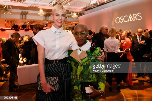 Charlize Theron and Cynthia Erivo attend the 92nd Oscars Nominees Luncheon on January 27, 2020 in Hollywood, California.