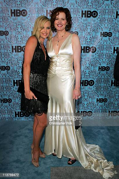 Charlize Theron and Geena Davis during 57th Annual Primetime Emmy Awards HBO After Party at Pacific Design Center in West Hollywood California United...