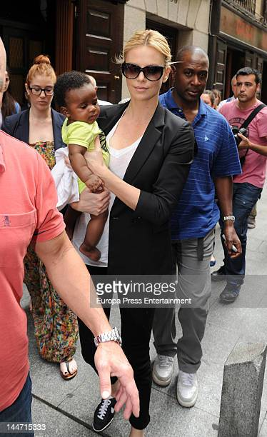 Charlize Theron and her baby Jackson Theron are seen leaving 'Casa Lucio' restaurant on May 17 2012 in Madrid Spain
