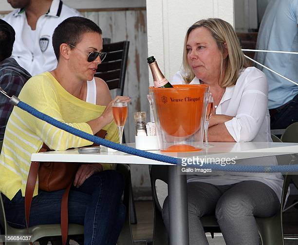 Charlize Theron and her mother Gerda at a trendy Camps Bay pavement eatery Cafe Caprice on November 16 2012 in Cape Town South Africa The actress is...