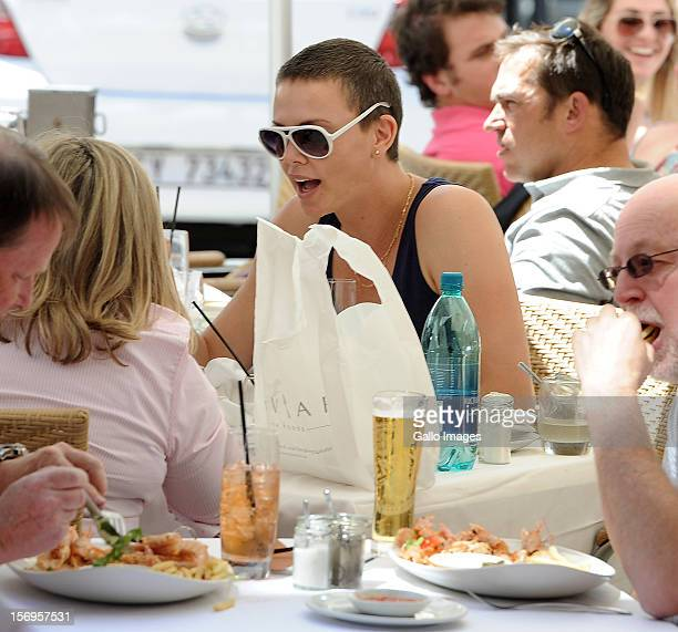 Charlize Theron and her mother Gerda enjoy lunch at Beluga at Green Point on November 23 2012 in Cape Town South Africa The actress is in Cape Town...