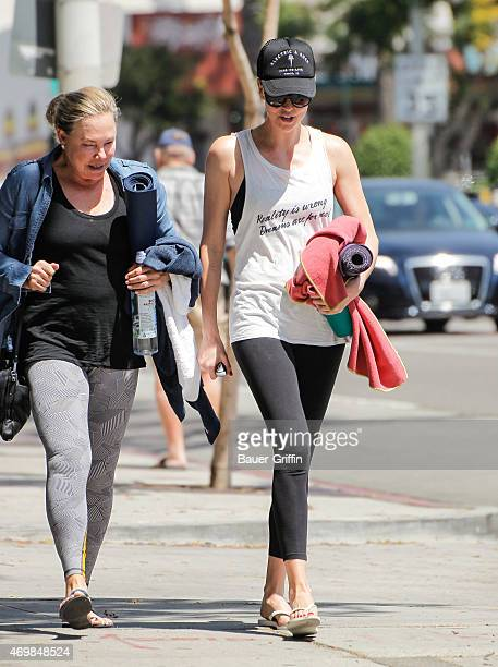 Charlize Theron and her mother Gerda Maritz are seen on April 15 2015 in Los Angeles California