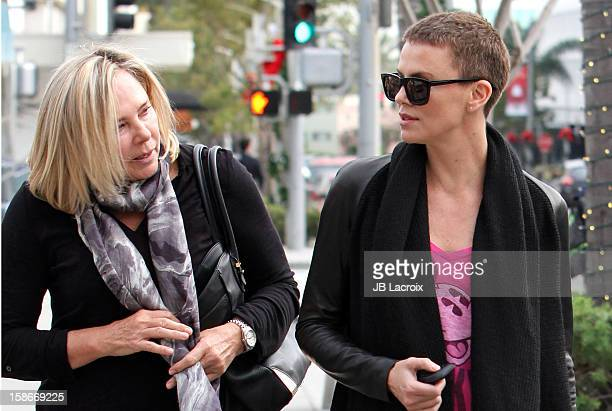 Charlize Theron and her mother Gerda on December 23 2012 in Los Angeles California