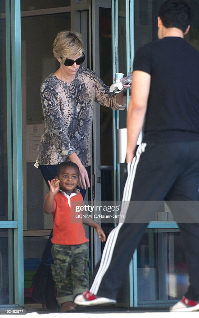 Charlize Theron and her son Jackson Theron sighting on January 13, 2014 in Los Angeles, California.