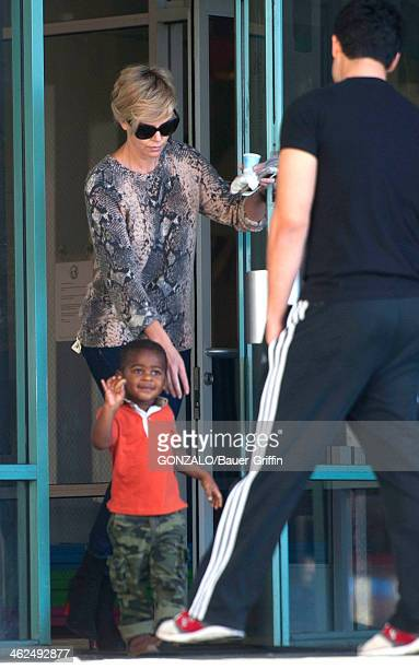 Charlize Theron and her son Jackson Theron sighting on January 13 2014 in Los Angeles California