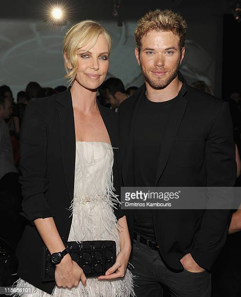 Charlize Theron and Kellan Lutz attend the launch of DIOR VIII hosted by Charlize Theron at Dior Boutique on June 8 2011 in New York City