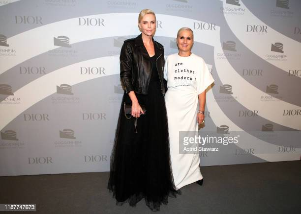 Charlize Theron and Maria Grazia Chiuri attend the 2019 Guggenheim International Gala at Solomon R Guggenheim Museum on November 14 2019 in New York...