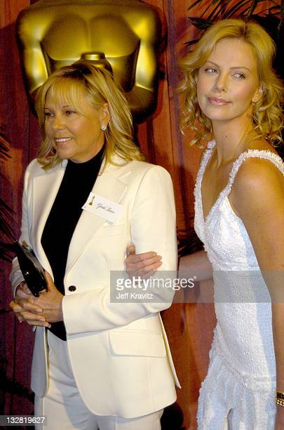 Charlize Theron and mom during The 76th Annual Academy Awards Nominees Luncheon at Beverly Hilton Hotel in Beverly Hills California United States