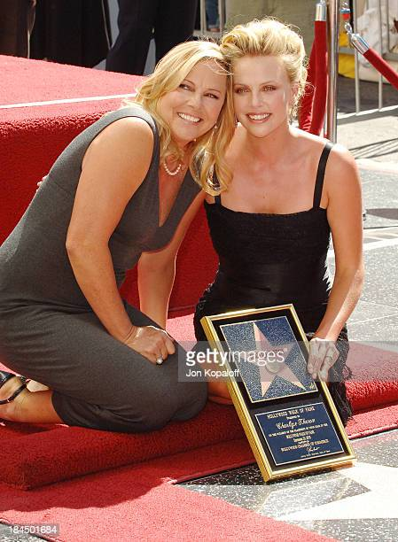 Charlize Theron and mom Gerda during Charlize Theron Honored with a Star on the Hollywood Walk of Fame for Her Achievements in Film at Hollywood Blvd...