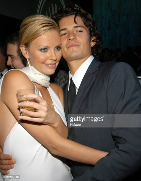 Charlize Theron and Orlando Bloom during Spike TV Presents the 2003 GQ Men of the Year Awards After Party at Lower Manhattan in New York City New...