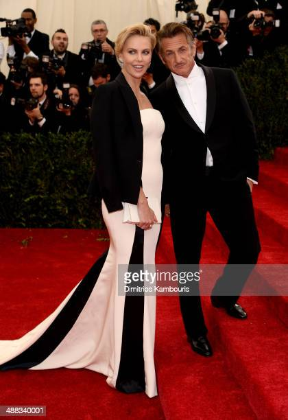 Charlize Theron and Sean Penn attend the Charles James Beyond Fashion Costume Institute Gala at the Metropolitan Museum of Art on May 5 2014 in New...