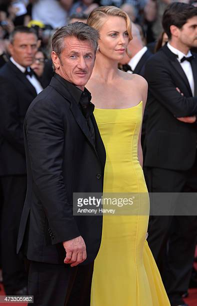 Charlize Theron and Sean Penn attend the Mad Max Fury Road premiere during the 68th annual Cannes Film Festival on May 14 2015 in Cannes France
