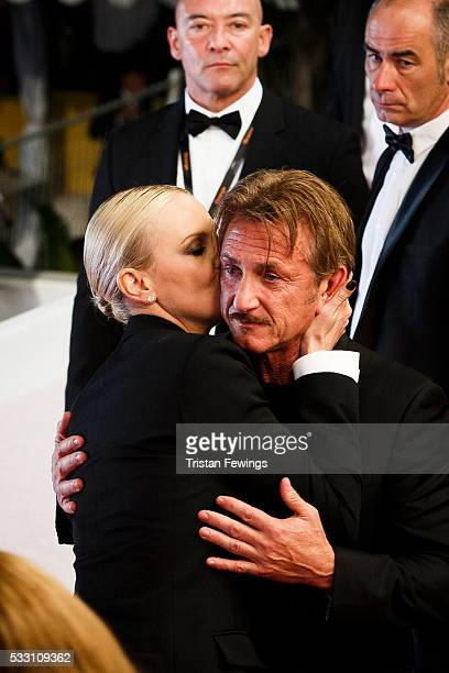 Charlize Theron and Sean Penn embrace each other after 'The Last Face' Premiere during the 69th annual Cannes Film Festival at the Palais des...