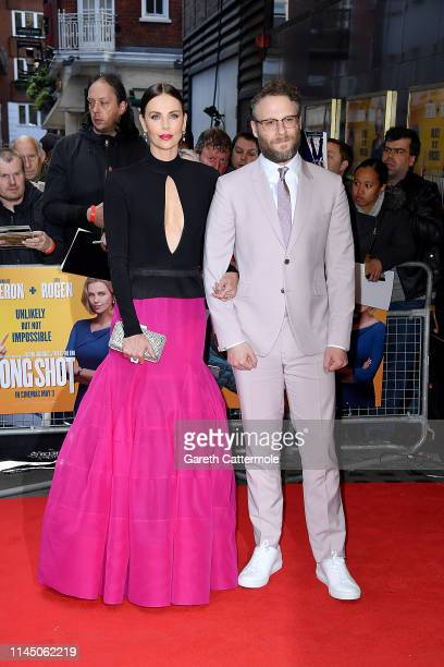 Charlize Theron and Seth Rogan attend the Long Shot special screening at Curzon Cinema Mayfair on April 25 2019 in London England
