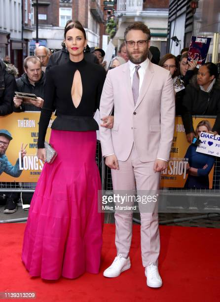 Charlize Theron and Seth Rogen attend the Long Shot special screening at Curzon Cinema Mayfair on April 25 2019 in London England
