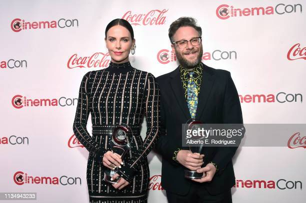 Charlize Theron and Seth Rogen, recipients of the Comedy Stars of the Year award, attends The CinemaCon Big Screen Achievement Awards Brought to you...