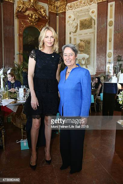 Charlize Theron and the First Lay of Austria Margit Fischer attend the Life Ball 2015 first ladies lunch at Belvedere Palace on May 16 2015 in Vienna...