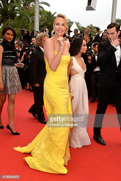 Charlize Theron and Zoe Kravitz attend the Mad Max Fury Road Premiere during the 68th annual Cannes Film Festival on May 14 2015 in Cannes France