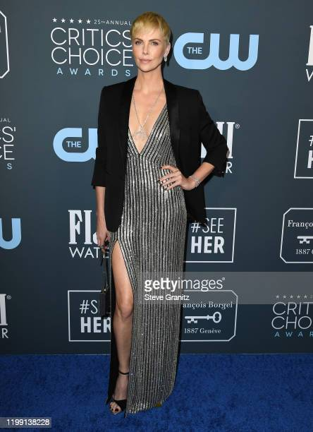 Charlize Theron arrives at the 25th Annual Critics' Choice Awards at Barker Hangar on January 12, 2020 in Santa Monica, California.