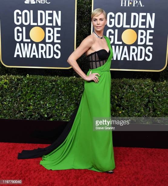 Charlize Theron arrives at the 77th Annual Golden Globe Awards attends the 77th Annual Golden Globe Awards at The Beverly Hilton Hotel on January 05...
