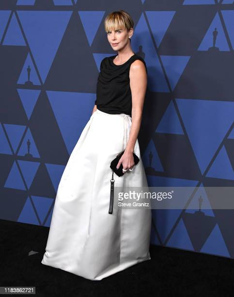 Charlize Theron arrives at the Academy Of Motion Picture Arts And Sciences' 11th Annual Governors Awards at The Ray Dolby Ballroom at Hollywood...