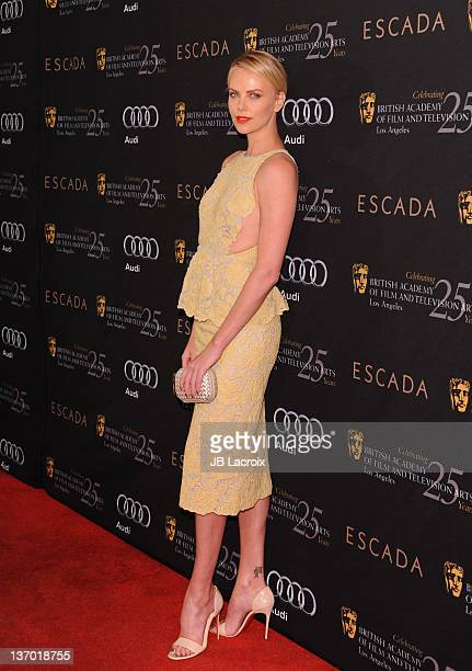 Charlize Theron arrives at The BAFTA Los Angeles Awards Season Tea Party held at Four Seasons Hotel Los Angeles at Beverly Hills on January 14 2012...