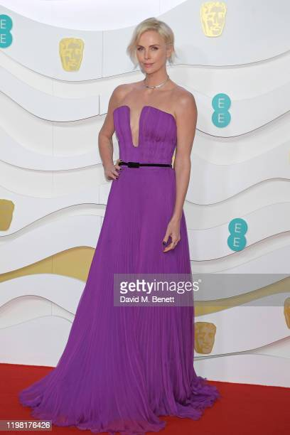 Charlize Theron arrives at the EE British Academy Film Awards 2020 at Royal Albert Hall on February 2, 2020 in London, England.